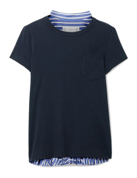 Cotton Jersey And Striped Cotton Poplin T Shirt by Sacai