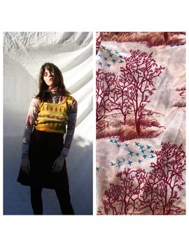 1970's Turtleneck / Novelty Printed Trees And Birds / Preppy School Girl Sweater / High Turtle Neck Autumnal Scene Top / Fall And Winter by Etsy