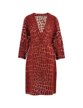 Terracotta Embroidered Silk Dress by Stella Mc Cartney