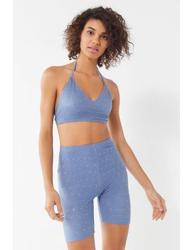 Motel Sparkly Chambray Cropped Halter Top by Motel