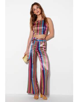 Gwen Purple Multi Striped Wide Leg Pants by Honey Punch