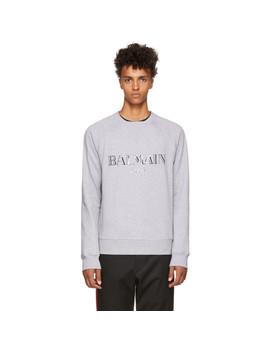 Grey Glossy Logo Sweatshirt by Balmain