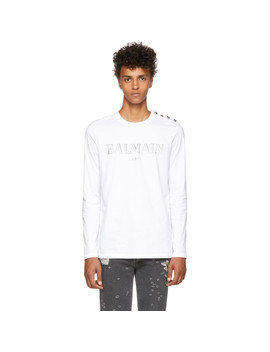White Logo Long Sleeve T Shirt by Balmain