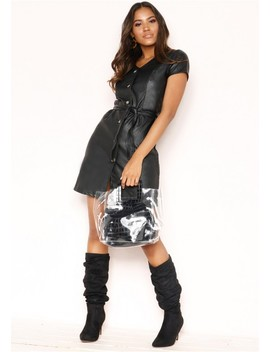 Destiny Black Faux Leather Button Belted Dress by Missy Empire