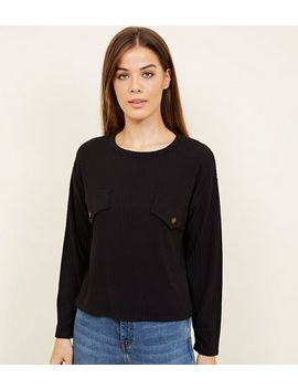 Black Ribbed Button Front Long Sleeve T Shirt by New Look