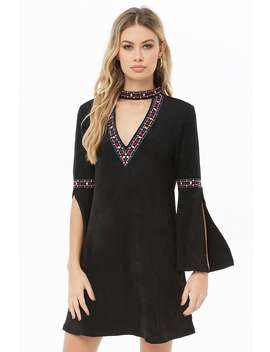 Cutout Embroidered Faux Suede Dress by Forever 21