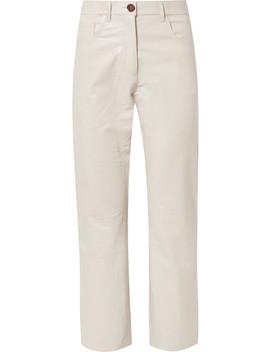 Ivy Cropped Croc Effect Vegan Leather Straight Leg Pants by Nanushka