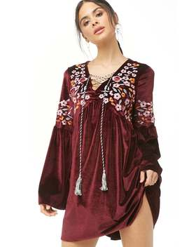 Embroidered Velvet Peasant Dress by Forever 21