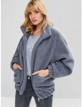 Fluffy Zip Up Winter Teddy Coat   Blue Gray S by Zaful