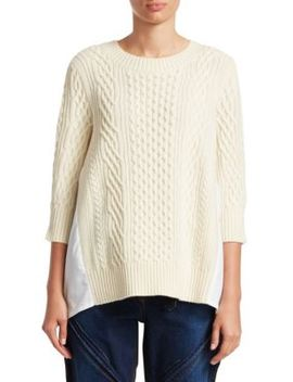 Cable Knit Poplin Top by Sacai