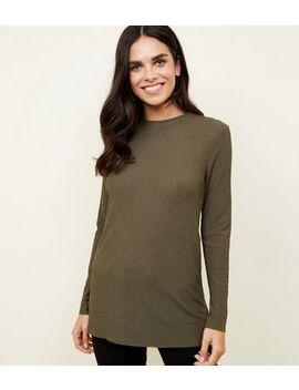 Khaki Long Sleeve Crinkle Tunic Top by New Look