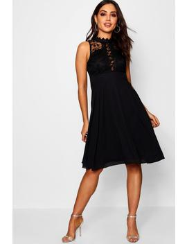 Lace Scallop Top Midi Skater Dress by Boohoo
