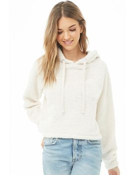 Faux Shearling Drawstring Hoodie by Forever 21