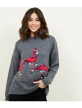 Light Grey Flamingo Christmas Jumper by New Look