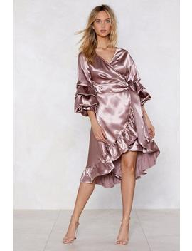 Wearing And Tiering Satin Dress by Nasty Gal