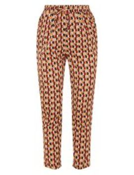Rust Geo Print Cigarette Trouser by Prettylittlething