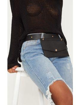 Black Croc Envelope Belted Bum Bag by Prettylittlething