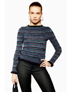 Metallic Thread Striped Top by Topshop