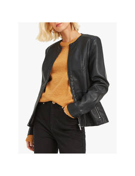 Oasis Faux Leather Collarless Jacket, Black by Oasis