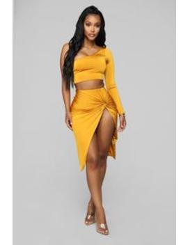 Looking Amazing Skirt Set   Mustard by Fashion Nova