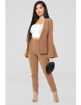 I Mean Business Set   Camel by Fashion Nova