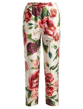 Silk Twill Rose And Peony Print Trousers by Matches Fashion