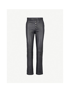 Slim Fit Straight High Rise Leather Trousers by Joseph
