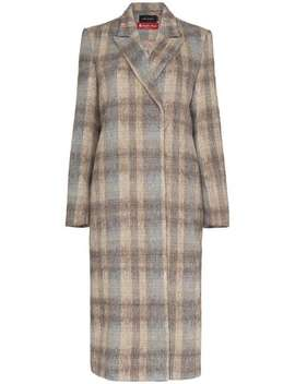 Check Basic Long Wool Blend Coat by Low Classic