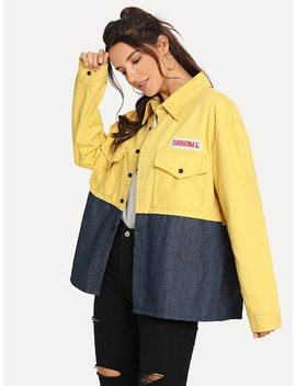 Letter Embroidered Cut And Sew Panel Jacket by Sheinside