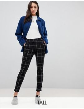 New Look Tall Grid Check Trousers In Black by New Look Tall