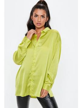 Green Neon Oversized Satin Shirt by Missguided