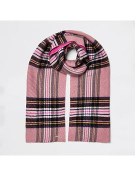 Pink Check Print Scarf by River Island
