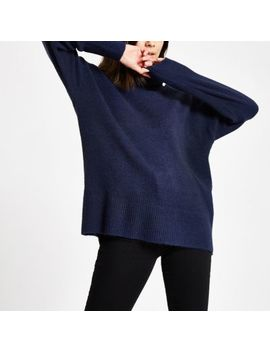 Navy Oversized Roll Neck Jumper by River Island