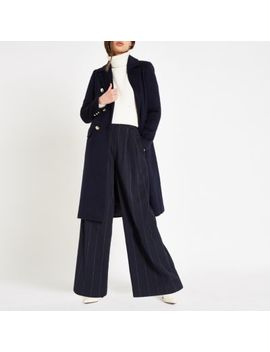 Navy Double Breasted Longline Coat by River Island
