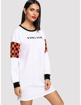 Drop Shoulder Sweatshirt Dress by Shein