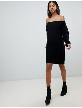 Missguided Off The Shoulder Sweater Dress In Black by Missguided