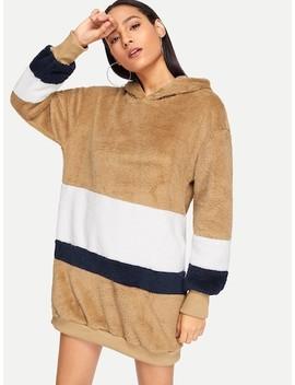 Color Block Hooded Teddy Dress by Sheinside