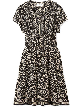 Emi Ruffled Pintucked Printed Voile Dress by Sea