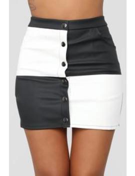 Opposites Attract Skirt   Black/White by Fashion Nova
