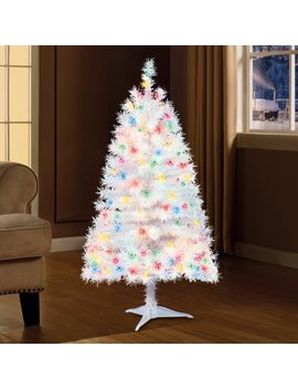 Holiday Time 4ft Pre Lit Indiana Spruce Artificial Christmas Tree With 105 Multicolored Lights   White by Holiday Time