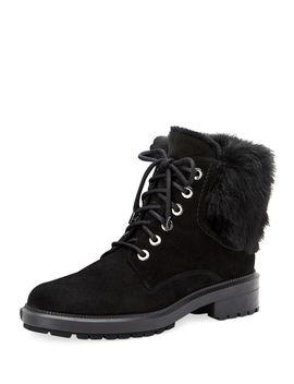 Lacy Suede Combat Boots W/ Fur Trim by Aquatalia