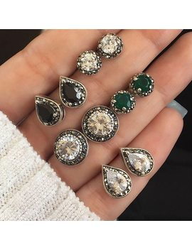 5 Pairs/Set Water Drop Green White Crystal Stud Earrings For Women Boho Boucle D'oreille Jewelry Dazzling Cubic Zirconia Brincos by Jewdy