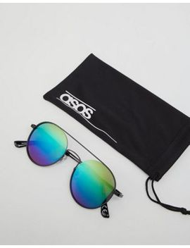 Asos Design Round Sunglasses In Black Metal With Rainbow Mirrored Lens by Asos Design