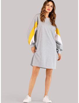 Drop Shoulder Colorblock Dress by Sheinside