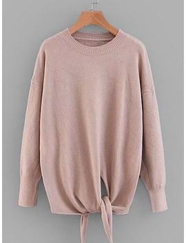 Knot Detail Rolled Hem Sweater by Sheinside