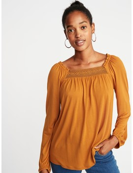 Ruffled Lace Yoke Square Neck Blouse For Women by Old Navy