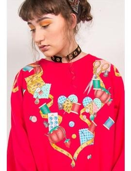 Vintage 90's Red Seamstress Sewing Print Sweatshirt by The Vintage Scene