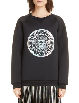 Hologram Coin Logo Neoprene Sweatshirt by Balmain