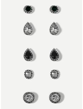 Waterdrop Gemstone Stud Earrings Set 5pairs by Sheinside