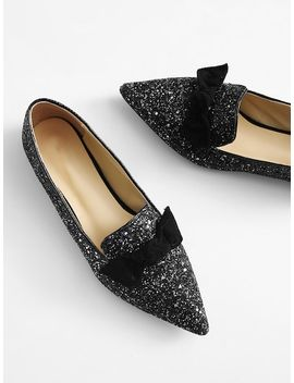 Bow Embellished Glitter Flats by Sheinside